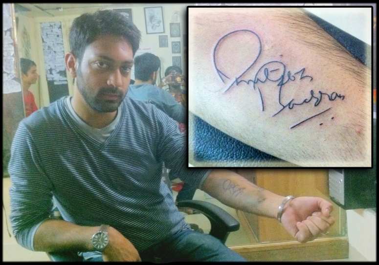 The client - obviously a huge fan got Mr. bachhan to autograph on his hand & later walked in to the studio to make it stay permanently on his skin