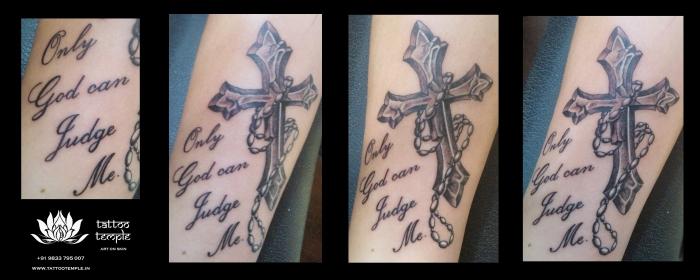 Cross Tattoo with Script