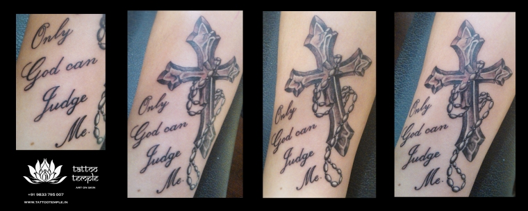 Cross Tattoo with Script