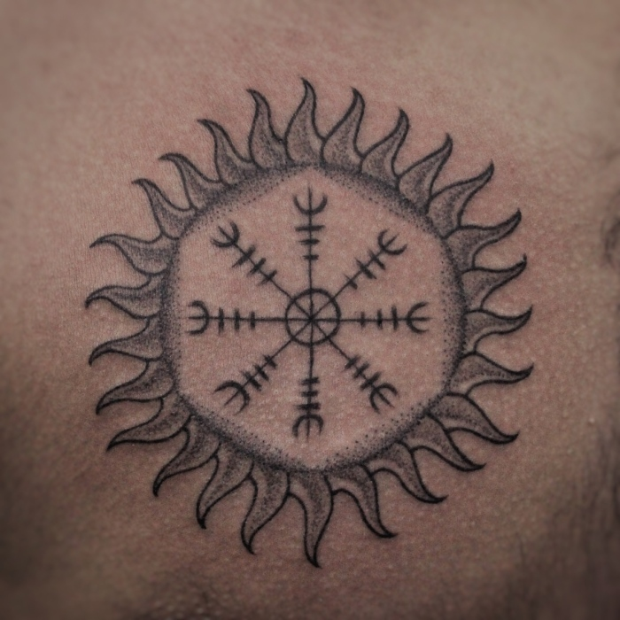 Aegishjalmur Tattoo - A Symbol of Protection in Battle