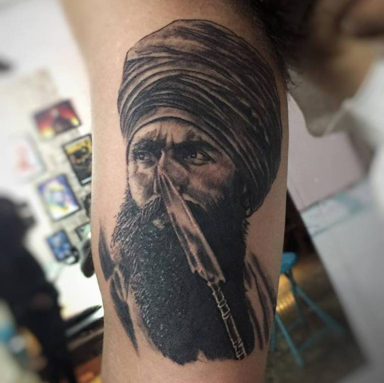 Sant Jarnail Singh Bhindranwale Portrait Tattoo