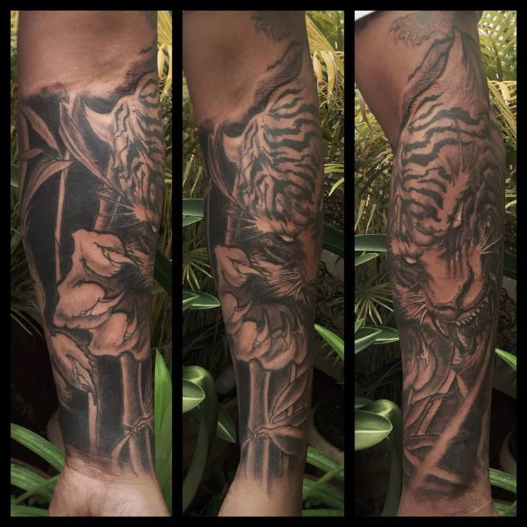 Tiger Forearm Neo Traditional Tattoo by monk from Angakala108 Mumbai India